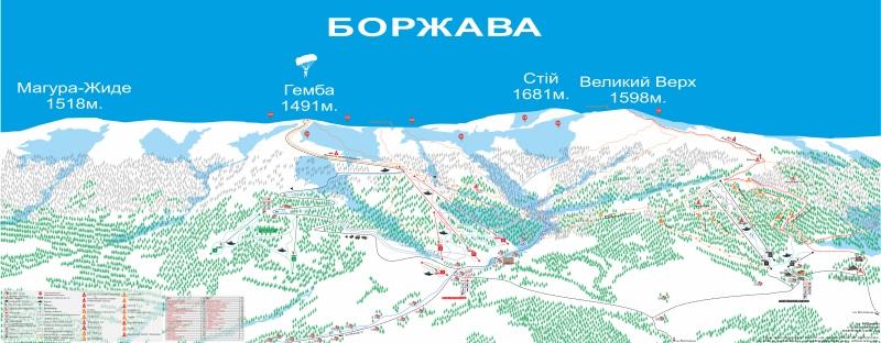 Схема маршрутов боржавского массива